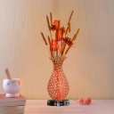 Gold/Silver Setaria and Vase Night Table Lamp Art Deco Aluminum LED Parlour Nightstand Light