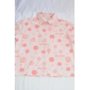 Cute Girls Letter Pink Peach Cartoon Print Button Up Turn Down Collar Short Sleeve Loose Graphic Blouse
