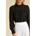 Stylish Womens Long Sleeve Crew Neck Keyhole Ruched Regular Fit Blouse Top in Black