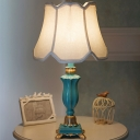 Single Night Lighting with Scalloped Shade Fabric Traditional Bedroom Resin Table Lamp in White/Blue