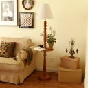 Shelf Wood Standing Floor Light Countryside 1 Head Living Room Floor Lamp in Brown with Cone White Fabric Shade