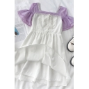 Fashionable Girls Lace Trim Patchwork Striped Pleated Square Neck Flare Cuff Sleeve Midi A Line Dress in White