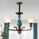 Bell Shade Frosted Glass Suspension Light 3/5/6 Heads Living Room Radial Ceiling Chandelier in Black and Blue