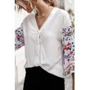 White Creative Plant Printed Button up V Neck 3/4 Flare Cuff Sleeve Relaxed Fit Shirt for Women