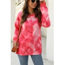 Leisure Tie-dye Print Long Sleeve Round Neck Loose Fit T Shirt for Women