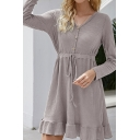 Casual Womens Solid Color Ruffle Hem Tie Waist Button up V Neck Long Sleeve Mini A-Line Dress