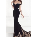 Boutique Womens Applique Patched Off the Shoulder Maxi Fishtail Pageant Dress in Black