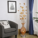 Aluminum Wire Gold Finish Floor Lighting Florets and Vase LED Decorative Standing Floor Lamp