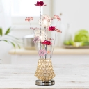 Gold LED Table Lighting Decorative Aluminum Wire Flowers and Vase Nightstand Lamp