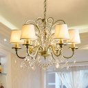6 Bulbs Suspended Lighting Fixture Rustic Cone Shade Fabric Chandelier in Gold with Crystal Pendalogues