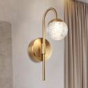 1/2-Light Gooseneck Sconce Lighting Postmodern Gold Seedy Ball Crystal Wall Mount Light Fixture