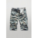 Cool Shorts Camo Pattern Zip-fly Button Detail Pockets Knee Length Straight Fit Chino Shorts for Men