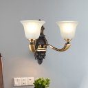Vintage Bell Shade Up Wall Lighting 1/2-Bulb Opal Glass Wall Mounted Lamp in Black-Gold