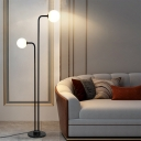 Frosted White Glass Orb Floor Lamp Minimalist 2 Bulbs Black Finish Floor Standing Light