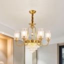 Layered Dining Room Pendant Lamp Traditional Crystal Prisms 6-Head Gold Chandelier with Cylinder Shade