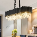 Layered Oblong Crystal Icicle Pendant Contemporary 6-Light Dining Room Hanging Light Fixture in Black