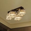 4/5-Light Living Room Flush Light Modernist Black Finish Semi Flush Ceiling Lamp with Rhombus Crystal Rectangle Shade