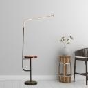 Modernism Angled Standing Floor Light Metallic LED Bedroom Floor Table Lamp in White/Black