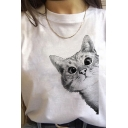 Summer Girls Cat Pattern Rolled Short Sleeve Crew Neck Relaxed T Shirt in White