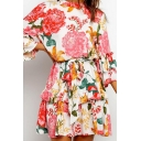 Amazing Womens Allover Flower Print Ruffled Bell Sleeve Crew Neck Bow Tie Waist Short Pleated A-line Dress in Orange