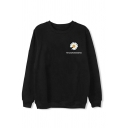 Simple Letter Daisy Floral Graphic Long Sleeve Round Neck Loose Pullover Sweatshirt in Black