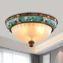 Green Finish Barn Flushmount Light Warehouse Ribbed Glass 3 Lights Living Room Flush Lamp, 15