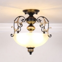Bowl White Glass Semi Flush Lamp Fixture Traditional 3 Heads Corridor Ceiling Mounted Light in Black