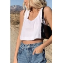 Simple Girls Scoop Neck Relaxed Fit Cropped Tank Top in White