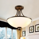 3 Bulbs Semi Mount Lighting with Bowl Shade Milk Glass Retro Bedroom Flush Lamp Fixture in Black