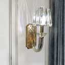 Cone Shade Bedroom Wall Mounted Light Clear Crystal Block 1 Head Modernist Wall Lamp in Gold