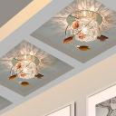 Ball LED Flush Ceiling Light Modern Chrome Finish Iron Flushmount Lamp with Decorative Tan Crystal Leaf