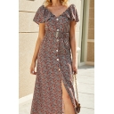 Fancy Womens Ditsy Floral Printed Ruffled Short Sleeve V-neck Button down Mid A-line Dress