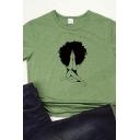 Leisure Womens Cartoon Print Short Sleeve Crew Neck Slim Fit Tee Top in Green