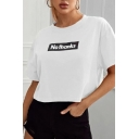 Popular Womens Letter No Thanks Print Short Sleeve Crew Neck Relaxed T-shirt