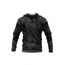 Unique Armor 3D Printed Drawstring Belt Full Sleeves Fitted Hoodie for Men