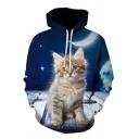 Stylish Men's Moon Cat 3D Print Pocket Drawstring Full Sleeve Loose Fit Hooded Sweatshirt