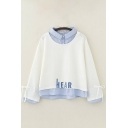 Preppy Girls Fake Two Piece Letter Hear Embroidery Striped Patched Bow Tied Long Sleeve Turn down Collar Button Detail Loose Pullover Sweatshirt in White