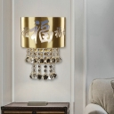 Brass Half-Cylinder Flush Wall Sconce Rustic Metal 2 Bulbs Family Room Wall Light with Script and Crystal Orb Drops