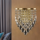 Crystal Teardrops Brass Finish Sconce Draping 1 Head Postmodernist Wall Mounted Lamp