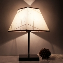 1 Head Nightstand Lamp Minimalist Square Pyramid Fabric Table Light in Black and Beige
