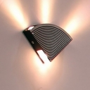 Metallic Radar Flush Wall Sconce Contemporary Black and Silver LED Wall Lighting in Purple/Yellow/Green Light