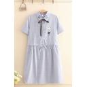 Pretty Girls Rabbit Embroidered Striped Short Sleeve Bow Tied Point Collar Button up Drawstring Waist Short Swing Shirt Dress