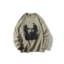 Trendy Character Printed Long Sleeve Crew Neck Relaxed Pullover Sweatshirt for Men