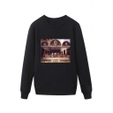 Trendy Mens The Last Supper Painting Pattern Pullover Long Sleeve Round Neck Regular Fit Sweatshirt