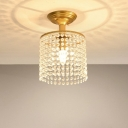 Single Crystal Chain Fringe Flush Light Postmodern Gold Barrel Shaped Bedroom Semi Flush Mount Ceiling Fixture