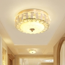 Rose Gold Drum Flush Light Contemporary Crystal Hallway LED Flush Mount Ceiling Fixture