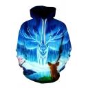 Cool 3D Fox Water Pattern Pocket Drawstring Long Sleeve Regular Fit Hooded Sweatshirt for Men