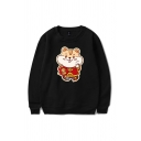 Simple Mens Cartoon Mouse Printed Chinese Letter Pullover Long Sleeve Round Neck Regular Fit Graphic Sweatshirt