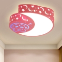 Crescent and Mushroom Iron Flush Mount Cartoon Pink LED Flush Mount Ceiling Lighting Fixture with Cutouts Side