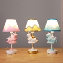 Melting Patterned Cone Shade Night Light Cartoon Fabric 1 Bulb Bedside Table Lamp with Unicorn Decor in Pink/Blue/Yellow